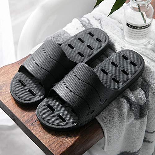 FPXNBONE Den Swimmingpool Hausschuhe,Hausbad Hausschuhe, Indoor rutschfeste Sandalen-Deep Black_38-39,Badelatschen Dusch