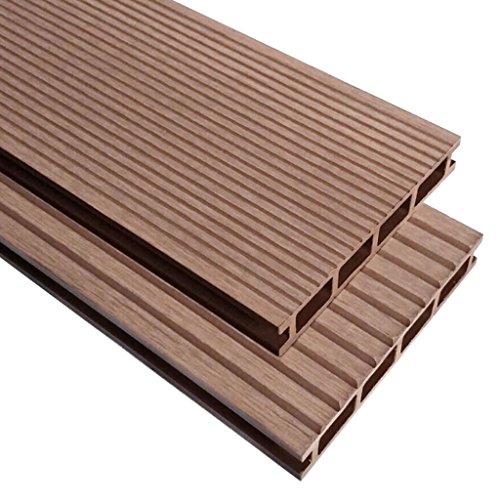 Nishore WPC - Baldosas de terraza con Accesorios Resistentes al Agua 16 m2 marrón para balcón o terraza