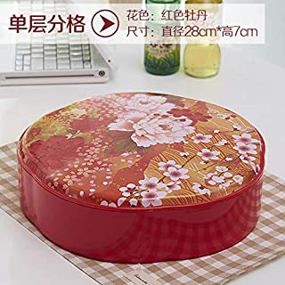 T-JMGP Multi-layer fruit dish Fruit fight Plastic fruit plate creative multi-colored candy box Chinese New Year living room dried fruit box plastic compartment, red peony single layer