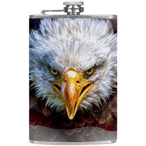 Eagle - Termo plano para licores (237 ml, con embudo, acero inoxidable y 100% a prueba de fugas)