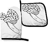 Guantes de Cocina Resistentes al Calor y Juego de Mantel Individual Cerebro humano con pene con...