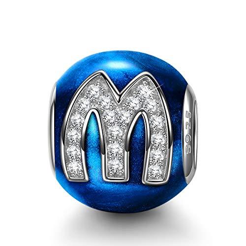 NINAQUEEN Charms pour Pandora Charm Lettre M Bleu Cadeau Femme Charme Argent 925 Zircone Émail Cadeaux pour Femme, Compatible pour Pandora & Européen Bracelets, avec Boite Cadeau
