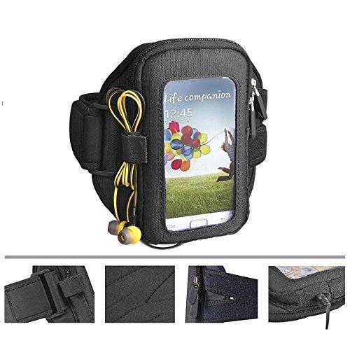 NOVAGO Sportarmband fürs Joggen, Fitnessstudio, Radfahren usw. Geeignet für iPhone 5, iPhone 4, iPod touch 4/5/6 Xpeira Z3 Mini Schweißresistente, mit Schlüssel, kopfhörer und Kreditkartenfach, ideal furs Training
