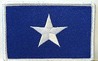 Bonnie Blue Flag Patch Texas Star Southern Patch with Hook & Loop Patriotic Morale USA Shoulder Emblem White Border Version #37