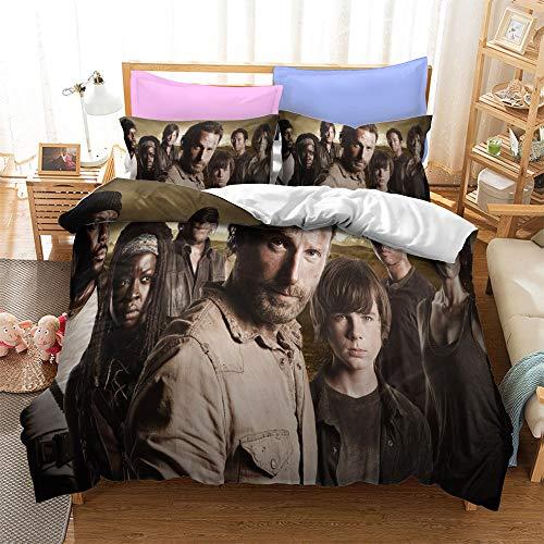 MYLZZ Juego de ropa de cama The Walking Dead de Horror-Tema, para cama individual, doble, de microfibra de fácil cuidado, diseño de cremallera invisible (Y5,135 x 200 cm + 50 x 75 cm x 1)