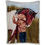 WesternWear Men's Reversible Horse Crazy Sherpa Throw One Size Multi One Size by Ramatex International