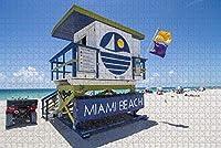 大人のためのジグソーパズルアメリカアメリカビーチマイアミパズル1000ピース木製旅行のお土産