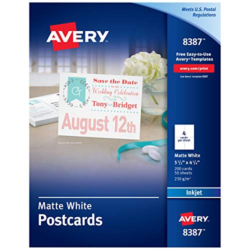 Avery Printable Postcards, Inkjet, 4.25' x 5.5', 200 White Cards (8387)