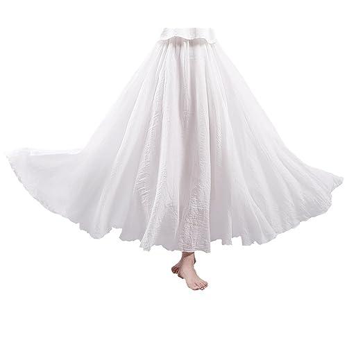 WSLCN Women Bohemia Skirt Long Linen Cotton Skirt