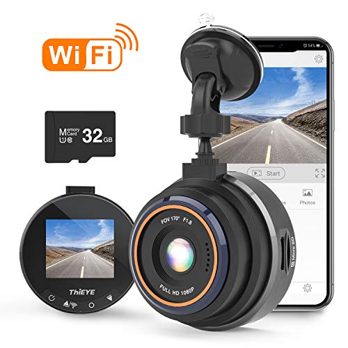 Dash Cam WiFi, ThiEYE Dashcam 1080P Full HD Car DVR Dashboard Camera Recorder with Super Wide Angle, WDR, Loop Recording, Parking Monitor, G-Sensor and Clear Night Vision(Upgraded)