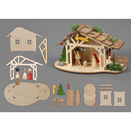 Drechslerei Kuhnert - Hobaku Bastelset - Krippenstall mit heilliger Familie - aus Holz zum Zusammenbauen - Made in Germany