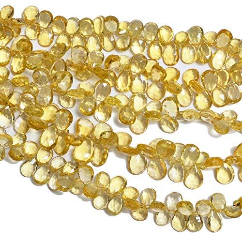 Jaipur Gems Mart Bier-Quarz-Edelstein 9x11mm Birnen-Briolette Perlen | Goldene Natur Bier Quarz-Halbedelstein facettiertes Korn für Schmuck | 8