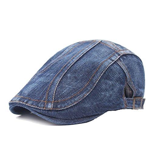Quanhaigou Unisex Denim Flat Ivy Gatsby Newsboy Cabbie Driving Hat Cap, Jean Blue, One Size