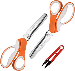 Pinking Shears Set (Pack of 2 PCS, Serrated & Scalloped Edges) by Chooling - Zig Zag Scissor for Fabric Leather - Wave Fabric Scissor - Dressmaking Sewing Dog/Triangle Teeth Tailor Scissors CL-030-J