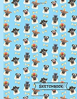 Pugs Sketchbook: Pug Gifts: Blank Drawing Paper Sketch Book: Large Notebook for Doodling or Sketching ~ 8.5