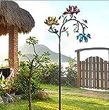Large Metal Wind Spinner with Three Spinning Flowers and Butterflies Windmill - Metall Windrad - Windrad für den Garten aus Metall - Windräder Windspiel Windmühle - bunt Windrad Blume, Gartendeko