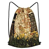 Bolsa Cuerdas con cordón impermeable Unisex,Yellow Flowers And An Old House In Chianti Region Tuscany Italy,LigeroCasual ,Deporte Gimnasio Mochilas