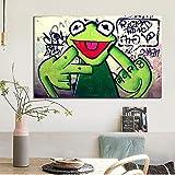 mmzki Straße Graffiti Kunst Frosch Finger Poster Print