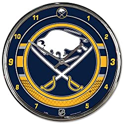 Buffalo Sabres 12 inch Round Wall Clock Chrome Plated