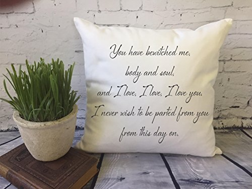 Mr. Darcy Zitat Throw Pillow Cover Pride and Prejudice Zitat Throw Pillow Cover You have bewitched me, second