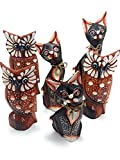 Pack de 6 Figuras de Animales de Madera, 3 Buhos y 3 Gatos, Decoracion, Tallado y Pintado a Mano, Buho de la Suerte, Idea de Regalo, Artesania Adorno Marron Blanco (Pack Lote 3 BUHOS Y 3 Gatos, 6)