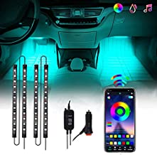 CHUSSTANG Interior Car Lights, 48 LEDs 4pcs Car LED Strip Lights Bluetooth App Control Lighting Kits and Control Box Music with Car Charger Waterproof Sound Active Function for Smart Phone