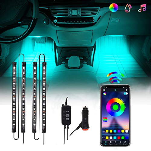 Interior Car Lights, CHUSSTANG 48 LEDs 4pcs Car LED Strip Lights Bluetooth App Control Lighting Kits and Control Box Music with Car Charger Waterproof Sound Active Function for Smart Phone