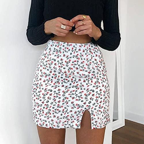 Falda Corta Plisada Tenis Mujer Niñas Minifalda Coreana Floral con Estampado Amarillo Verano Negro Kawaii Falda Lápiz Verano Vintage Blanco Faldas De Cintura Alta A Line S Blanco