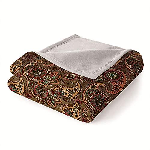 Mantas para Sofa Batamanta Mujer de Franela y Sherpa Manta Bebe Sofa Mantas con Estampados para la Cama y el Sofá 150x200 cm Nación marrón