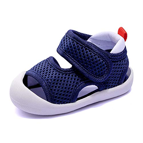 Boys Girls Athletic Sports Sandals Open-Toe Breathable Rubber Sole Beach Water Shoes for Toddler (5-DK-Blue, 4.5)