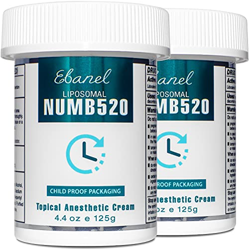 Ebanel 5% Lidocaine Topical Numbing Cream Maximum Strength, 2-Pack of 4.4 Oz, Numb 520 Pain Relief Cream Anesthetic Cream Infused with Aloe, Vitamin E, Lecithin, Allantoin, with Child Resistant Cap