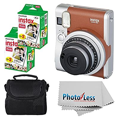 Fujifilm INSTAX Mini 90 Neo Classic Instant Camera (Brown) With 2x Fujifilm Instax Mini 20 Pack Instant Film (40 Shots) + Compact Camera Case + Cleaning Cloth - Instant Camera Bundle by FUJIFILM