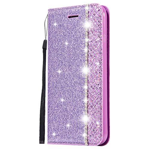 Kompatibel mit Samsung Galaxy S8 Plus Glitzer Hüllen Leder Lila, PU Leder Silikon TPU Wallet Bumper Schutz mit Kartenfächer Crystal Diamant Glitzer Handyhülle Standfunktion Tasche für Galaxy S8 Plus