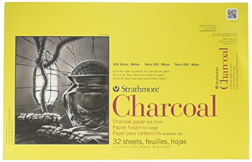 """Strathmore 300 Series Charcoal Pad White, 11""""x17"""" Glue Bound, 32 Sheets"""