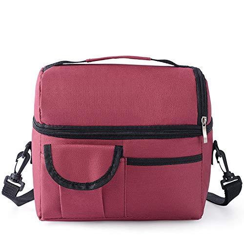 PPLAX Bolsa de Almuerzo con Aislamiento portátil Bolsa de Hombro al Aire Libre Bolsa de Picnic Bolsa de Enfriador Canasta de Picnic para Acampar Deportes de Playa (Color : Wine Red)
