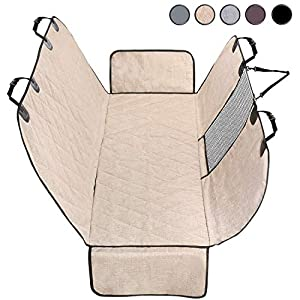 Vivaglory Dog Car Seat Cover, Mesh Visual Window with Extra Strap & Buckles, Waterproof & Nonslip Car Back Seat Cover Convert to Bench Seat Cover & Trunk Liner & Dog Hammock, Heather Khaki S