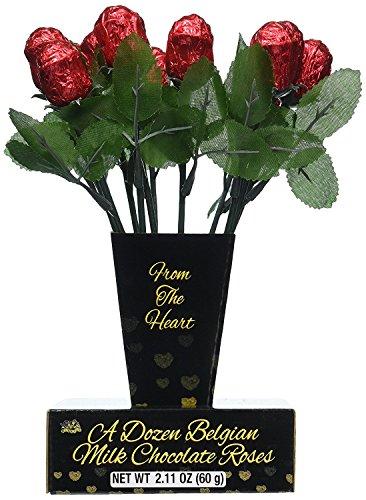 One Dozen Belgian Milk Chocolate Roses in Gift Box