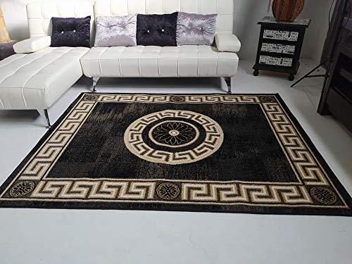 Stock tappeti salotto 160 x 210 Home Frise Elegate e Moderna. Tupida, bordo a pelo lungo, colore nero, 160 x 210