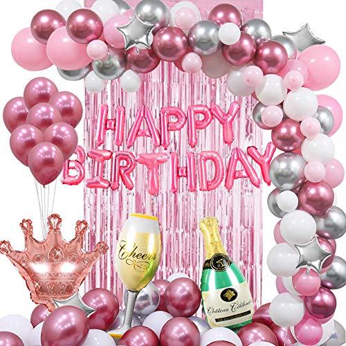MMTX Geburtstagsdeko Rosa Ballon-Kit Damen Party Dekoration Premiumqualität Latex Luftballons Kit für Geburtstagsfeier Hochzeit Party und Kinder Dusche Party Festival Dekoration