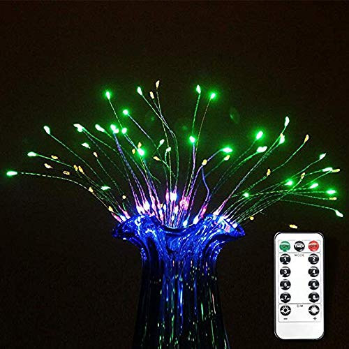 Guirnalda de luces LED, resistente al agua, para colgar en el hogar, jardín, boda, fiesta de 120 luces LED de alambre de cobre con mando a distancia