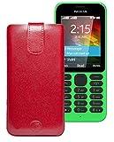 Original Favory Etui Tasche für Nokia 216   216 Dual SIM Leder Etui Handytasche Ledertasche Schutzhülle Hülle Hülle Lasche mit Rückzugfunktion* in Rot