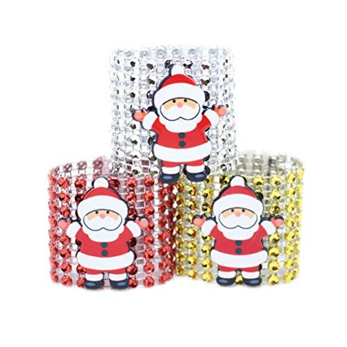 Toyvian 12 Stücke Weihnachtsmann Serviettenringe Metall Serviettenhalter für Weihnachten Party Tischdeko Weihnachtsdeko Weihnachtsschmuck (Silber Golden Rot)