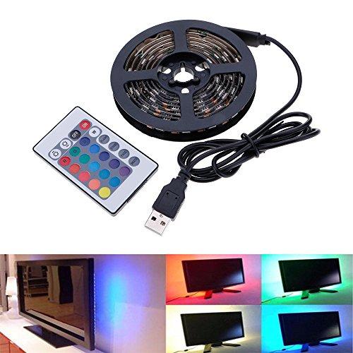 HuntGold TV Hintergrundbeleuchtung Bias Light USB RGB 5050SMD 60LED Flexible Farbwechsel Lichtleiste mit 24Schlüssel Fernbedienung für Flachbildschirme TV Desktop-PC Laptop Length: 1M Beige