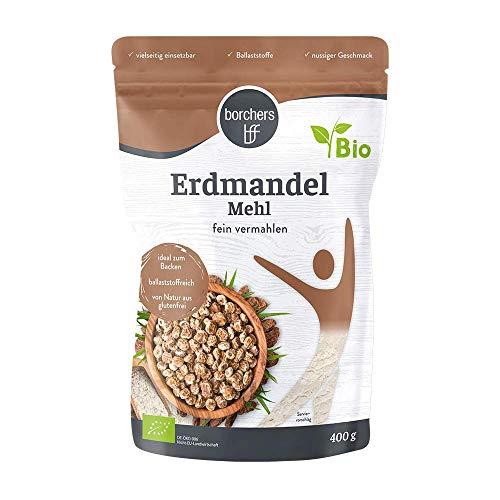 borchers Bio Premium Erdmandelmehl, Ballaststoffreich, Nussiger Geschmack, Für Müslis, Smoothies, Joghurt und Quark 400g
