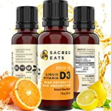 Sacred Eats Vitamin D3 Liquid Drops for Adults & Kids - 5,000 IU Serving (1,000 / Single Drop), Natural & Sugar Free in MCT Oil for Best Absorption, Easy to Take D Supplement & Amazing Taste (Citrus)