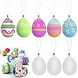 EMAGEREN Huevos de Pascua 24pcs Huevos de Plásticos Blancos Huevos para Pintar de Pascua Pintura de Huevos de Pascua Huevos Decorados con Cuerda Decoración de Pascua para Niños DIY Artesanía Escuela