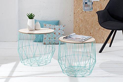 DuNord Design salontafel salontafel Arezzo Mint eiken bureau plank mand metalen ronde set van 2