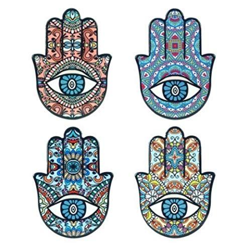 Vidal Regalos Set 4 Untersetzer Hand DER Fatima, Keramik, 10 cm