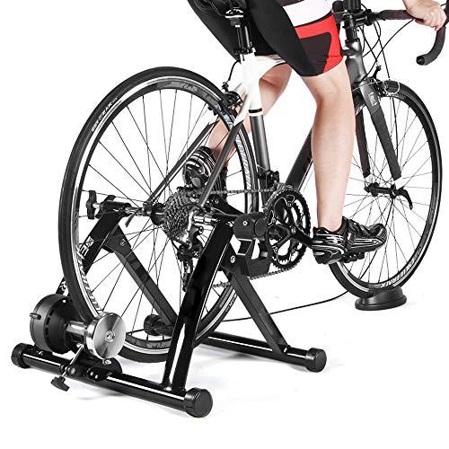 ZHLZH Rollentrainer/Fahrrad Rollentrainer, Indoor Heimtrainer Heimtraining 6 Geschwindigkeiten Magnetwiderstand Fahrradtrainer MTB Trainer Fahrradrolle,Black