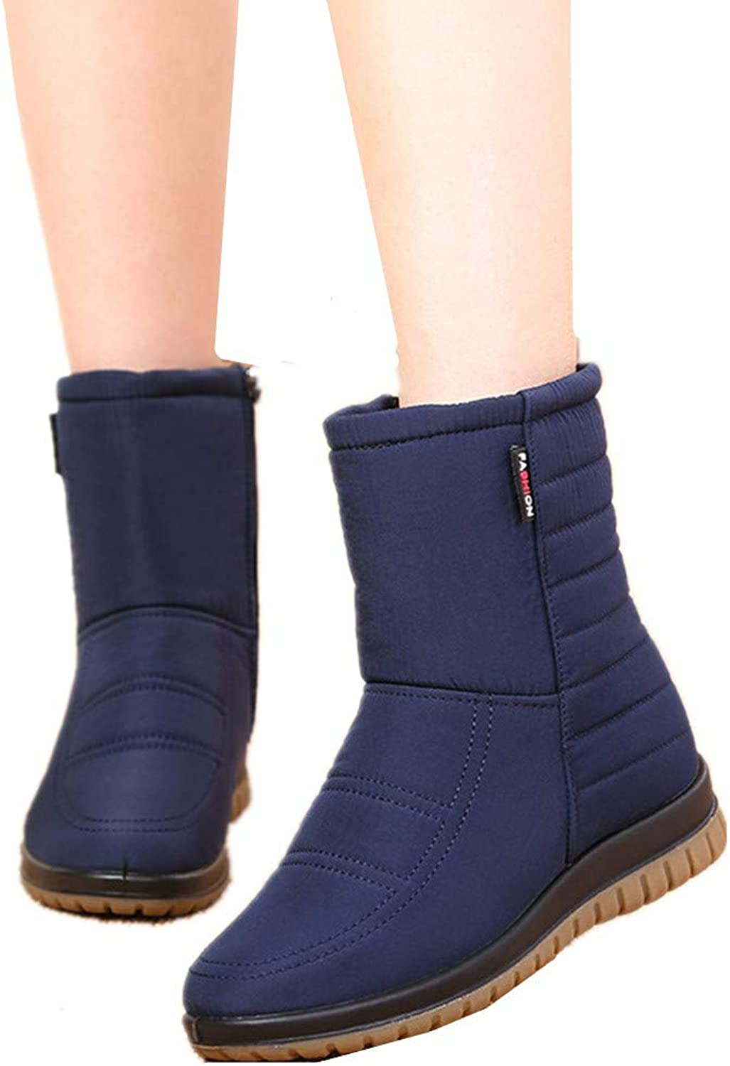 Edv0d2v266 Women Winter Warm Snow Boots Casual Slip On Flat Ankle Boots Home shoes